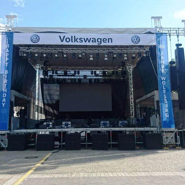 Rock im Allerpark 2019, Rohbau der Bühne inkl. Technik